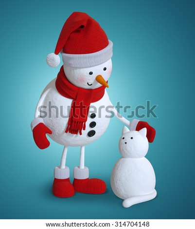 snowman and snow cat, 3d character illustration, Christmas holiday clip art