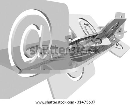 Email symbols illustration over white background #31473637
