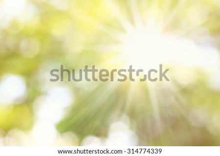 Golden heaven splashing light in Hope concept abstract blurred background from nature with sun splash and gold leaves for ramadan month Royalty-Free Stock Photo #314774339