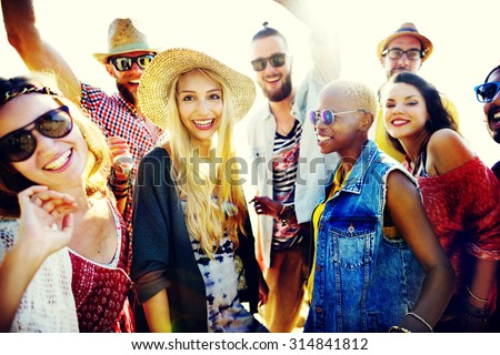 Teenagers Friends Beach Party Happiness Concept #314841812