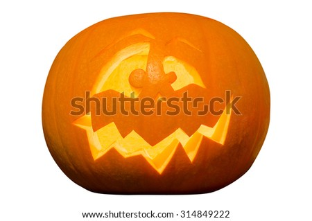 Decorative Halloween Pumpking Isolated on White Background #314849222
