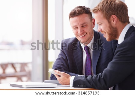 Two business colleagues in a meeting, close up #314857193