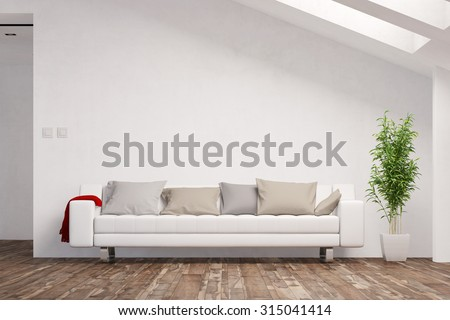 Space for canvas on wall in living room over a sofa (3D Rendering) #315041414