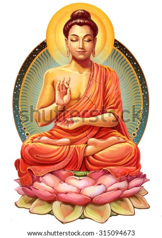 Illustration with Buddha in meditation. Raster illustration