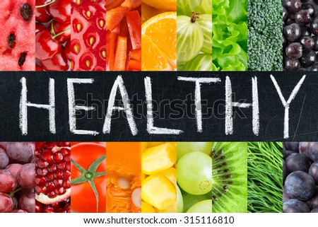 Healthy fresh color food. Fruits and vegetables concept #315116810