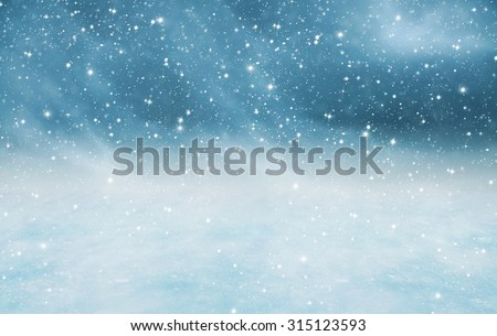 Winter landscape with falling snow Royalty-Free Stock Photo #315123593