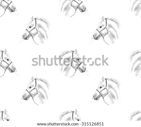 Realistic horses pencil drawn seamless pattern. Wildlife animal wallpaper design.  #315126851