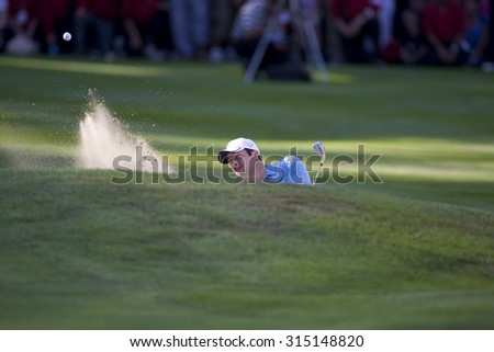 WENTWORTH, ENGLAND. 24 MAY 2009.Paul Casey (GBR) playing a bunnker shot on the 18th on his way to winning the European Tour BMW PGA Championship. #315148820
