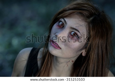 Zombie girl make up ghost for halloween  #315253103