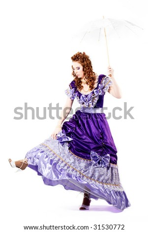 pretty woman in beautiful dress with umbrella #31530772