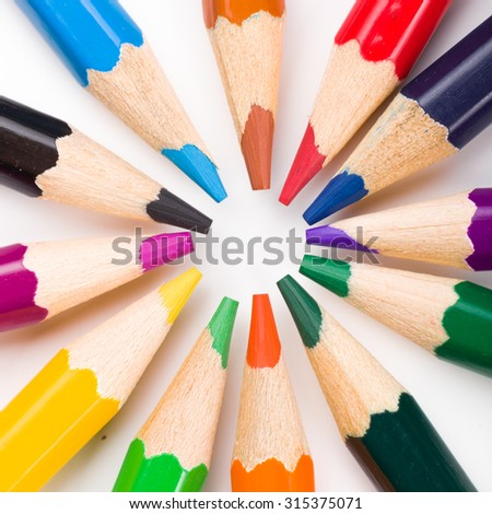 Many different colored pencils on white background. #315375071