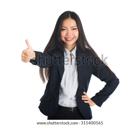 asian female business woman thumbs up #315400565