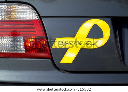 A yellow ribbon, Support Our Troops, magnet is displayed on a grey metallic car. (14MP camera)