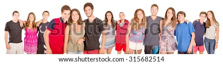 teenagers with beach clothes isolated in white #315682514