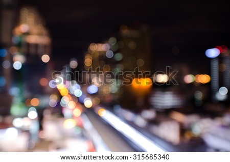 Blurred abstract background lights, beautiful cityscape view. #315685340