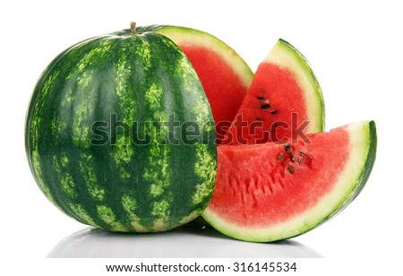 Ripe striped watermelon isolated on white #316145534