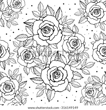 Roses seamless pattern. Bridal wreath of flowers. Vector sketch. Hand drawn artwork Love bohemia concept for wedding invitations, cards, tickets congratulations, branding, boutique logo label