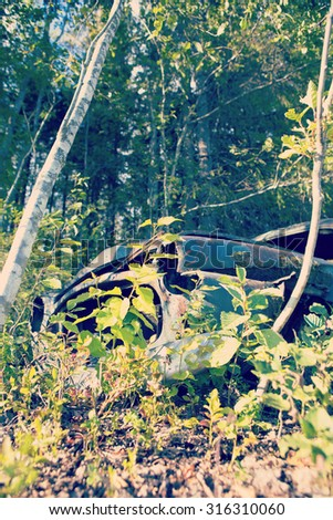An image of a fully rotten vehicle in the middle of the forest. The car has been left to demolish itself. Image has a vintage effect applied. Image taken from low and front point of view. #316310060