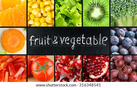 Fresh color fruits and vegetables concept. Food background #316348541