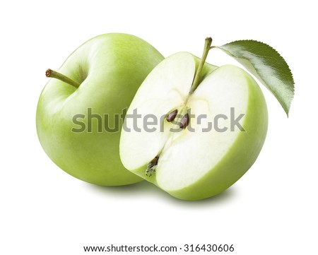 Whole green apple and half with leaf isolated on white background as package design element #316430606