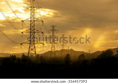 High voltage tower on sky background #316457393