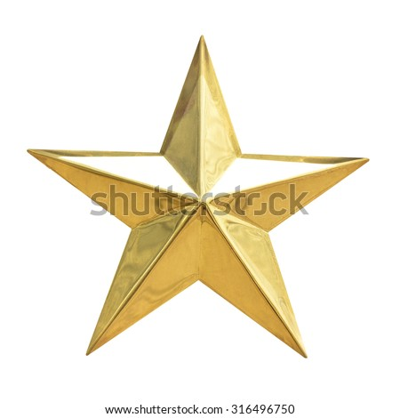 Golden Christmas Star isolated on white Background. Top View Close-Up Gold Star render (isolated on white and clipping path) #316496750