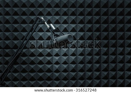Microphone in recording radio studio