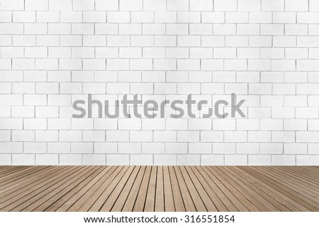 White brick wall textured background with wood floor in sepia brown tone for interiors #316551854