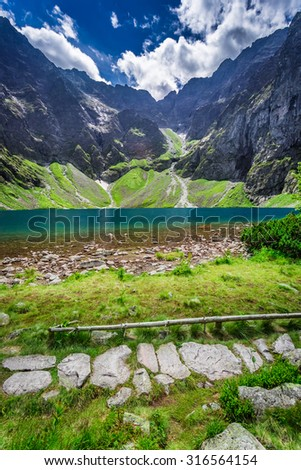 Beautiful pond in the middle of the mountains at summer #316564154