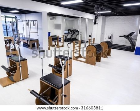 Fitness and gym interior and equipment #316603811