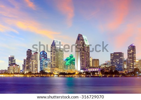 San Diego skyline at sunset, CA USA