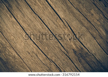 Old wooden floor with cracks, Old wooden for texture and background, Vintage style #316792154