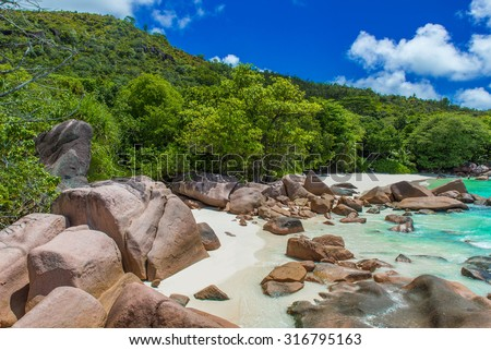 Anse Lazio - Paradise beach with granite stones in Seychelles, island Praslin #316795163