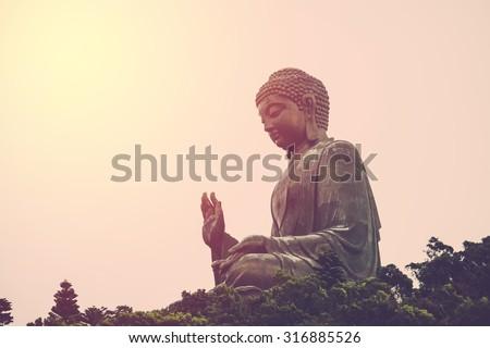 Tian Tan Buddha - The worlds's tallest bronze image in Lantau Island, Hong Kong. Vintage filter.