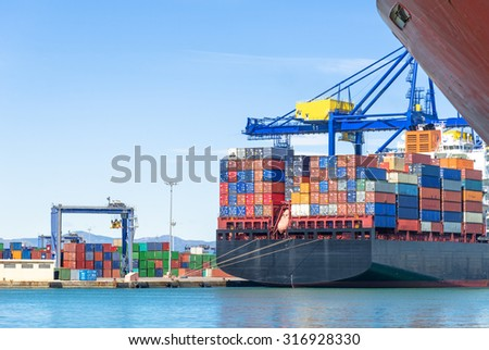 Container ship in harbor #316928330