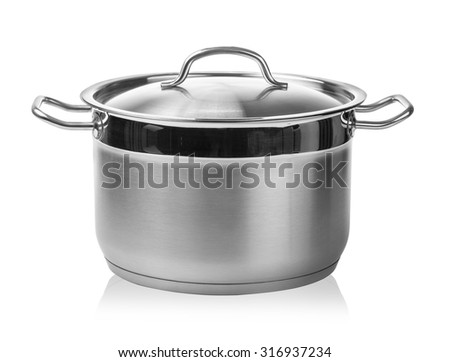stainless steel cooking pot isolated on white with clipping path #316937234