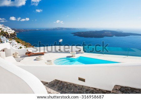 White architecture on Santorini island, Greece. Beautiful landscape with sea view. #316958687