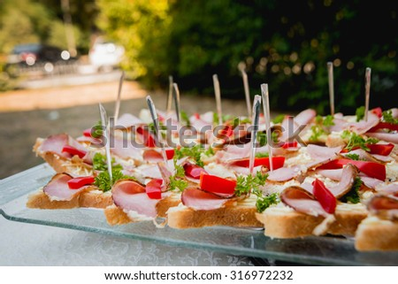 Sandwiches on a large plate. Catering. Restaurant #316972232