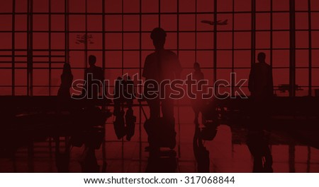 Back Lit Business People Traveling Airplane Airport Concept #317068844