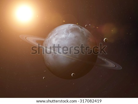 Colorful picture represents Uranus and its moons. Elements of this image furnished by NASA.