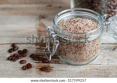 Homemade scrub made of sugar and ground coffee #317199257