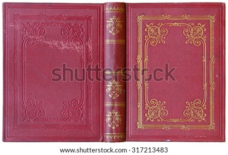 Old open book cover in red canvas with embossed golden abstract decorations (circa 1885), isolated on white #317213483
