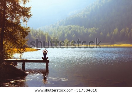 wellbeing and healthy lifestyle concept, yoga background Royalty-Free Stock Photo #317384810