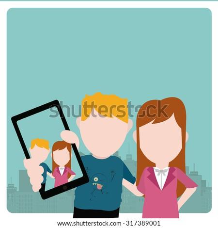 Selfie kids illustration over color background #317389001