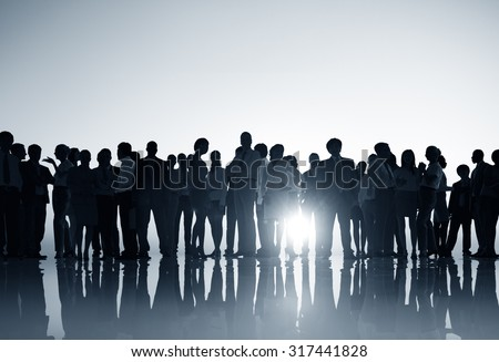 Group People Silhouette Gathering Sunrise Concept