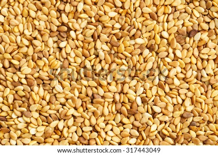 Close-up shot of dry roasted sesame seeds from above #317443049