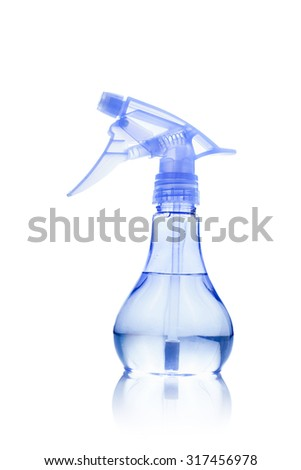 Plastic spray for dispersion of water on white background #317456978