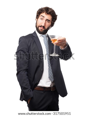 happy businessman with alcoholic drink #317501951