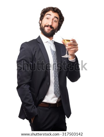 happy businessman with alcoholic drink #317503142