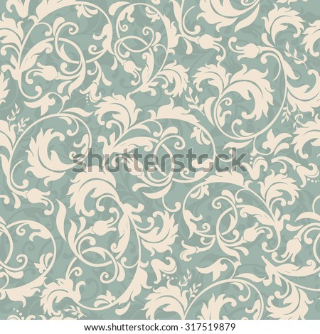seamless victorian pattern in green and beige